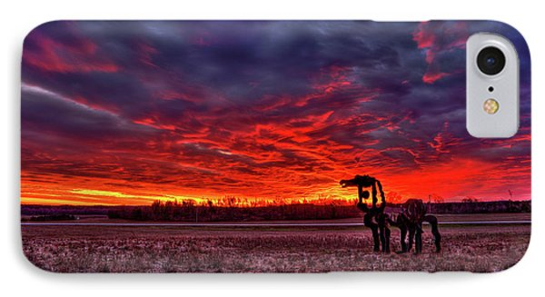 Majestic Red Clouds Winter Sunset The Iron Horse Art IPhone Case by Reid Callaway