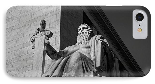 IPhone Case featuring the photograph Majesty Of Law In Black And White by Chrystal Mimbs