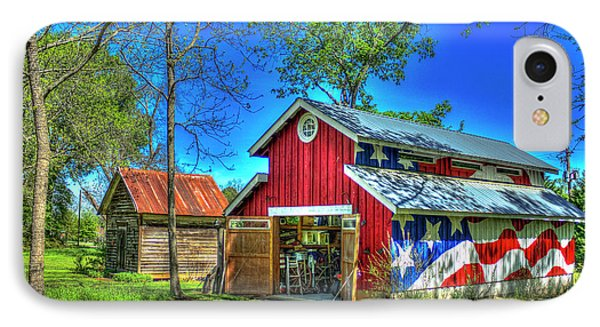 IPhone Case featuring the photograph Make America Great Again Barn American Flag Art by Reid Callaway