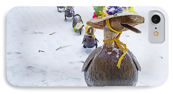 Make Way For Ducklings A Little Early For The Spring Bonnets IPhone Case by Toby McGuire