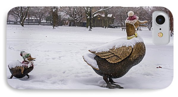 Make Way For Ducklings Winter Hats Boston Public Garden IPhone Case by Toby McGuire
