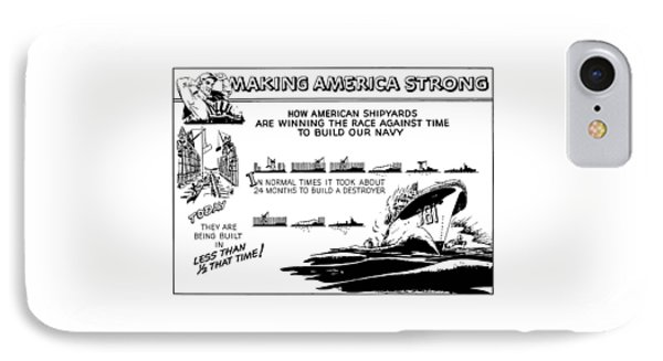Making America Strong Ww2 Cartoon Phone Case by War Is Hell Store