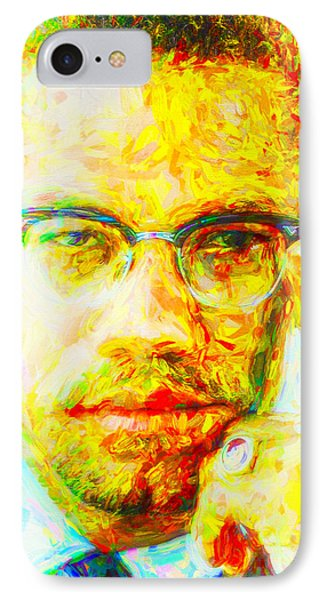 Malcolm X Painted Digitally 2 IPhone Case by David Haskett