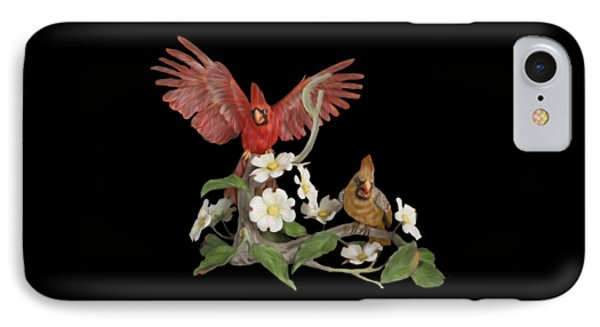 Male And Female Cardinals  IPhone Case by Walter Colvin