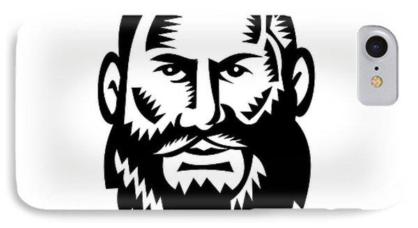 Male Big Beard Woodcut IPhone Case