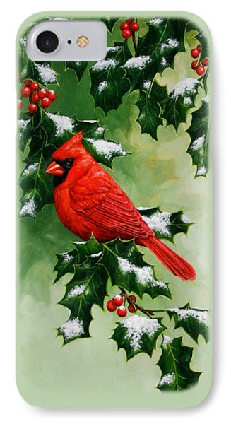Male Cardinal And Holly Phone Case IPhone 7 Case by Crista Forest
