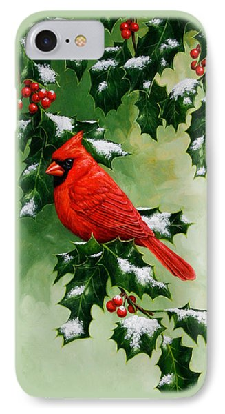 Male Cardinal And Holly Phone Case IPhone Case