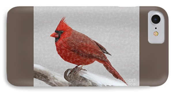 IPhone Case featuring the painting Male Cardinal In Snow by Rand Herron