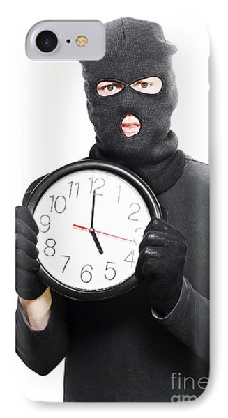 Male Criminal In Mask Holding A Clock IPhone Case by Jorgo Photography - Wall Art Gallery