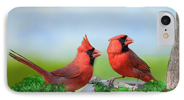 IPhone Case featuring the photograph Male Northern Cardinals In Spring by Bonnie Barry