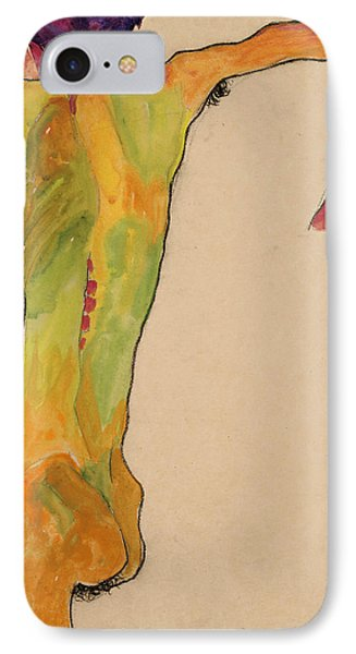 Male Nude, Propping Himself Up IPhone Case by Egon Schiele