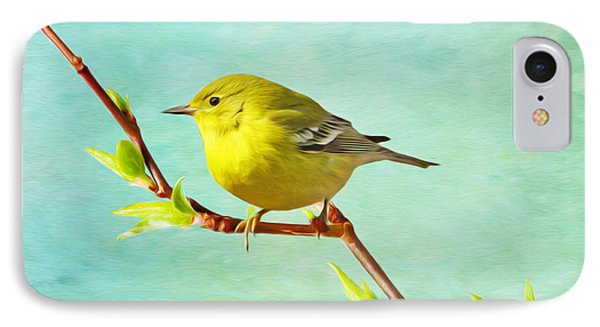 Male Pine Warbler On Forsythia Branch IPhone 7 Case