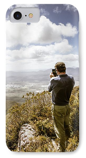 Male Tourist Taking Photo On Mountain Top IPhone Case
