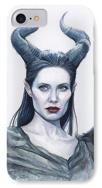 Maleficent Watercolor Portrait IPhone Case by Olga Shvartsur