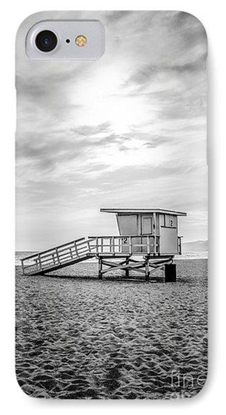 Malibu Lifeguard Tower #2 Black And White Photo IPhone Case by Paul Velgos