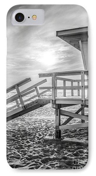 Malibu Lifeguard Tower #3 Black And White Photo IPhone Case by Paul Velgos