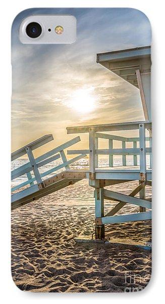 Malibu Lifeguard Tower #3 Sunset On Zuma Beach  IPhone Case by Paul Velgos