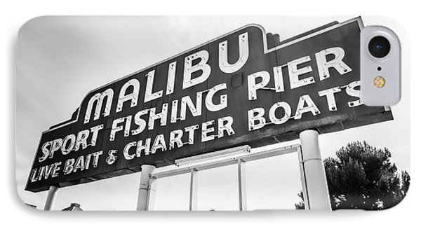 Malibu Pier Sign Black And White Photo IPhone Case by Paul Velgos