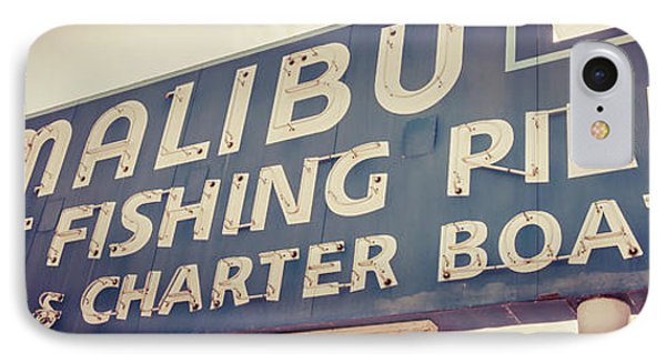 Malibu Pier Sign Retro Panorama Photo IPhone Case by Paul Velgos