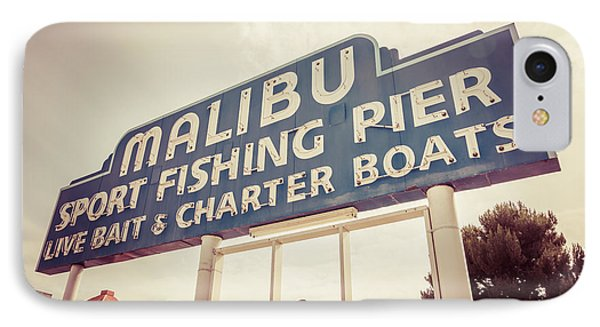 Malibu Sign Sport Fishing Pier Picture IPhone Case by Paul Velgos