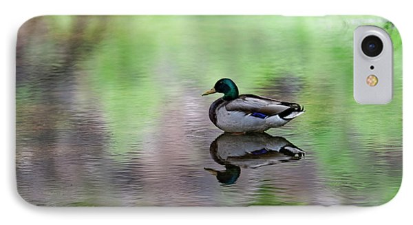 IPhone Case featuring the photograph Mallard In Reflecting Pool H58 by Mark Myhaver