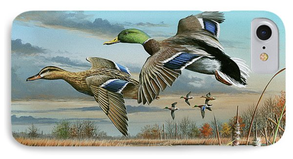 Mallards In Flight IPhone Case by Mike Brown