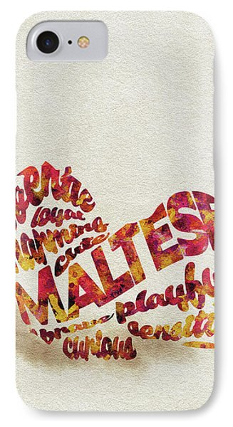 IPhone Case featuring the painting Maltese Dog Watercolor Painting / Typographic Art by Ayse and Deniz