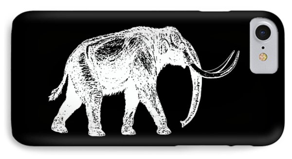 Dinosaur iPhone 7 Case - Mammoth White Ink Tee by Edward Fielding