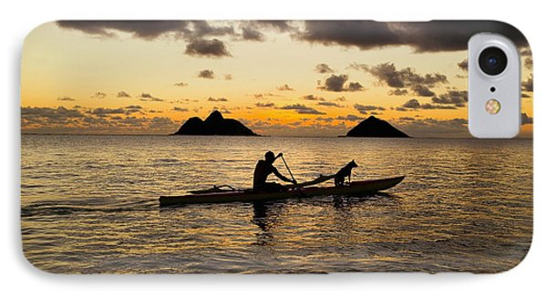Man And Dog In Canoe Phone Case by Dana Edmunds - Printscapes