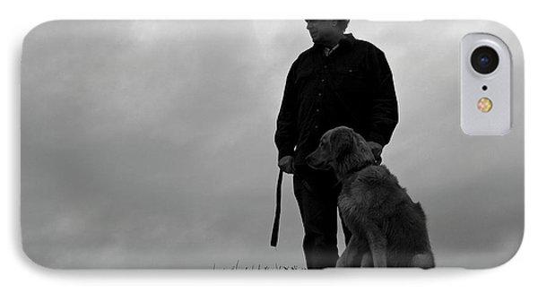 Man And His Dog In Silhouette Phone Case by Lorraine Devon Wilke