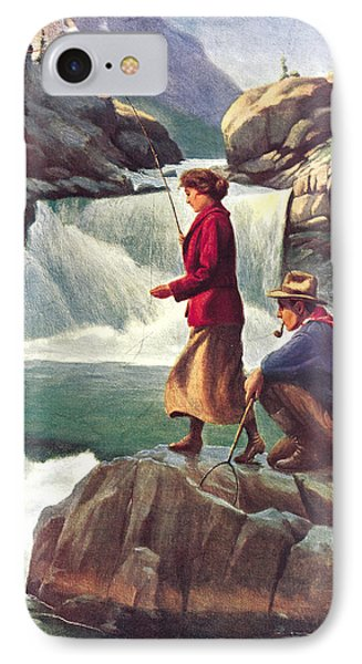 Man And Woman Fishing IPhone Case by JQ Licensing