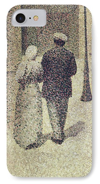 Man And Woman In The Street IPhone Case by Charles Angrand