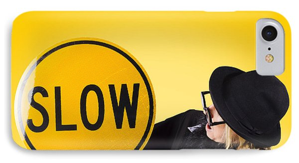 Man Holding Slow Sign During Adverse Conditions IPhone Case