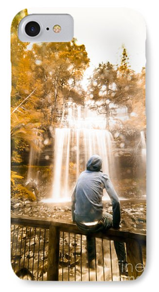 IPhone Case featuring the photograph Man Looking At Waterfall by Jorgo Photography - Wall Art Gallery