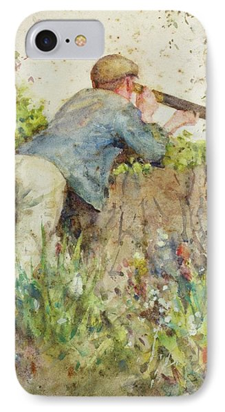 IPhone Case featuring the painting Man Looking Through A Telescope by Henry Scott Tuke