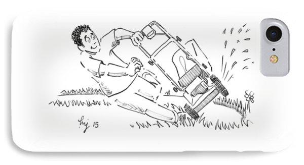 Man Mowing The Lawn Cartoon - Speed Mower IPhone Case