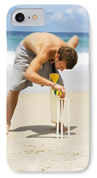 Man Playing Beach Cricket IPhone Case by Jorgo Photography - Wall Art Gallery