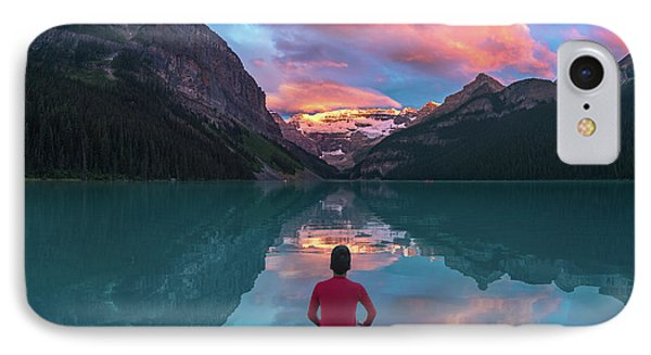IPhone Case featuring the photograph Man Sit On Rock Watching Lake Louise Morning Clouds With Reflect by William Lee