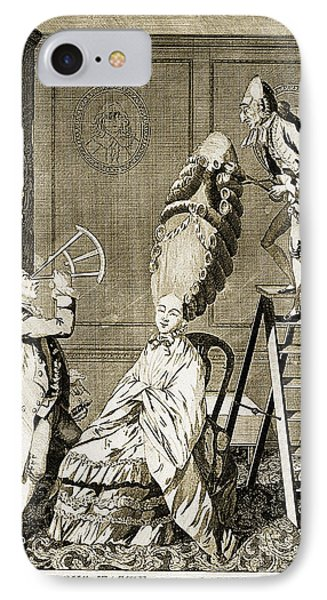 Man Using Sextant On Womans Coiffure IPhone Case by Wellcome Images