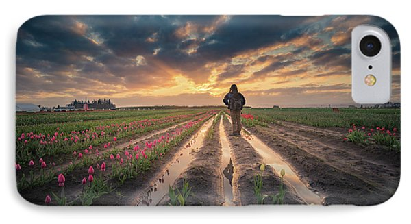 IPhone Case featuring the photograph Man Watching Sunrise In Tulip Field by William Lee