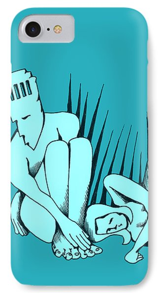 IPhone Case featuring the drawing Man With Belfry by Keith A Link