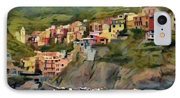 IPhone Case featuring the painting Manarola by Jeff Kolker