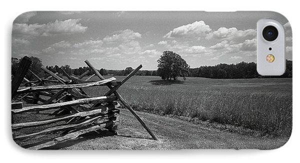 IPhone Case featuring the photograph Manassas Battlefield Bw by Frank Romeo