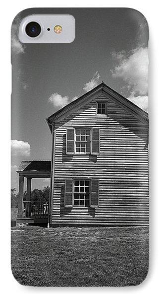IPhone Case featuring the photograph Manassas Civil War Battlefield Farmhouse Bw by Frank Romeo
