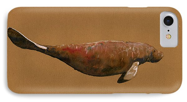 Manatee IPhone Case by Juan  Bosco