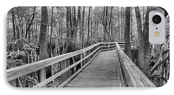 Manatee Springs Black And White Boardwalk IPhone Case by Adam Jewell