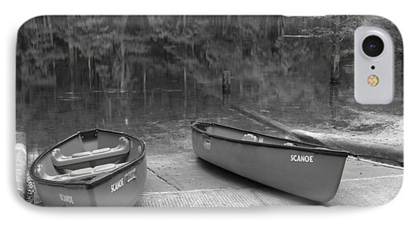 Manatee Springs Black And White Boat Launch IPhone Case by Adam Jewell
