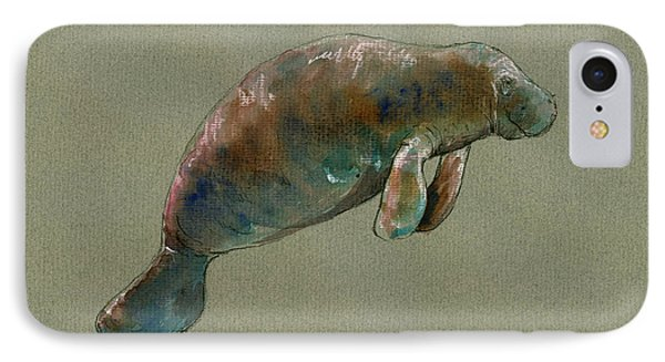 Manatee Watercolor Art IPhone Case by Juan  Bosco