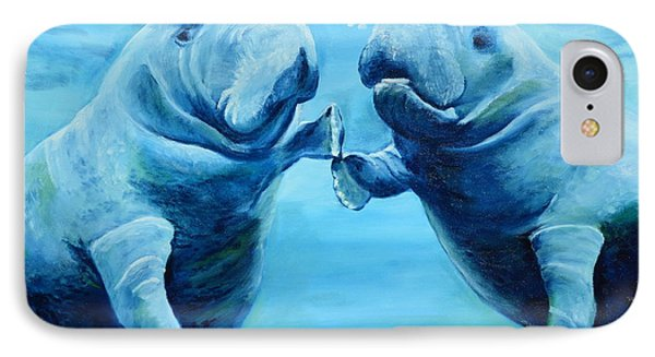 Manatees Socializing IPhone Case by Lloyd Dobson