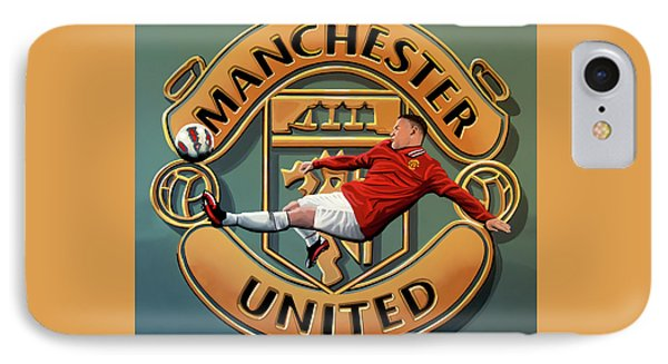 Wayne Rooney iPhone 7 Case - Manchester United Painting by Paul Meijering